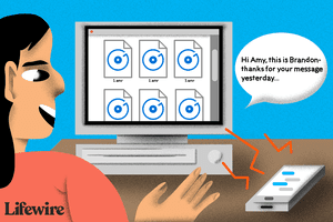 Illustration of a person playing a personal message from an AMR file on a computer