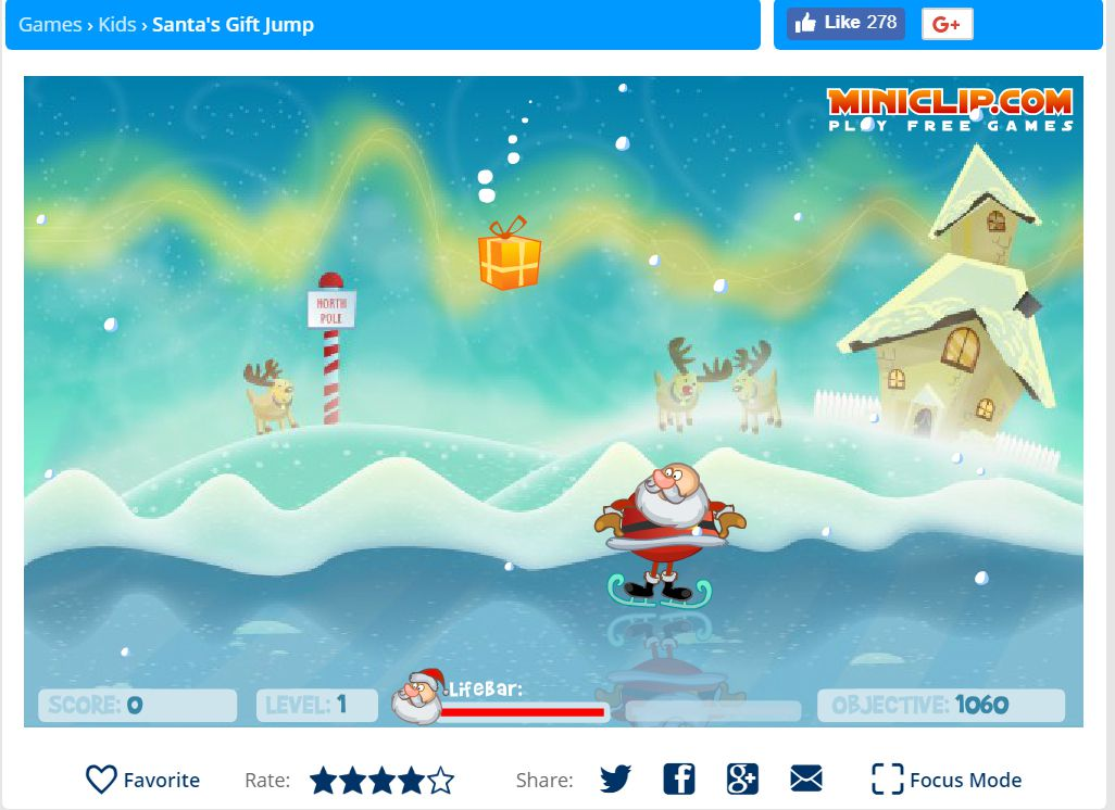 A screenshot of the game Santa's Gift Jump