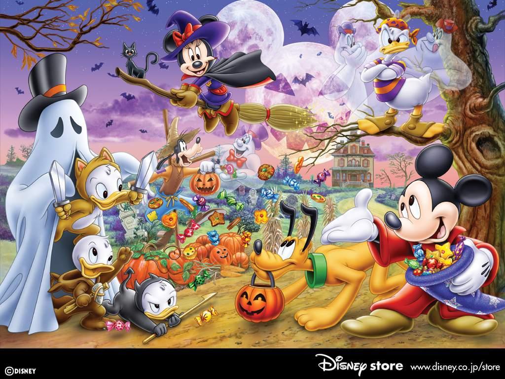 Disney characters celebrating Halloween.