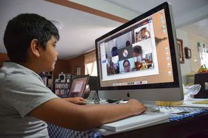Boy in online class