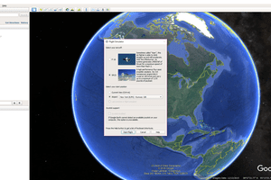 A screenshot of the opening screens for the Google Earth Flight Simulator.
