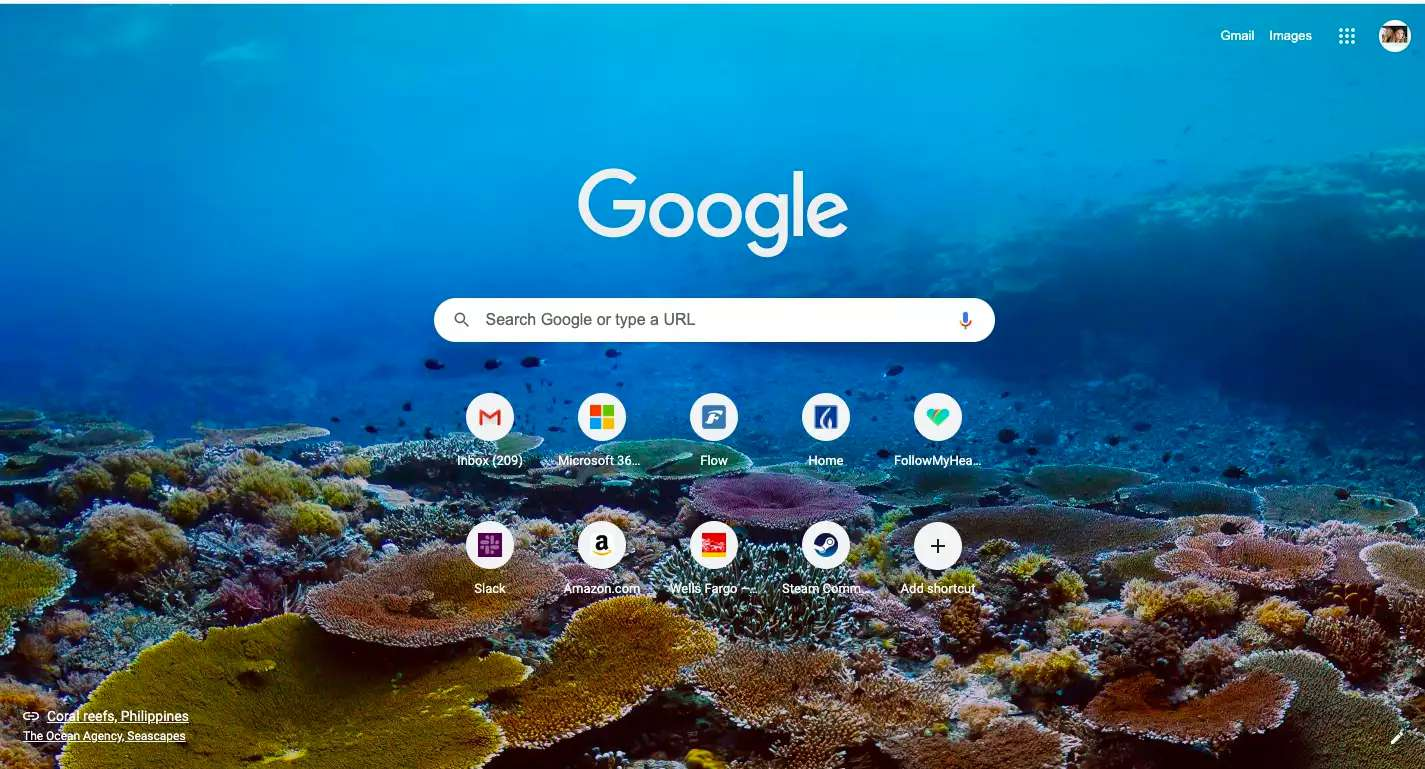 Google Chrome stock background for New Tab page