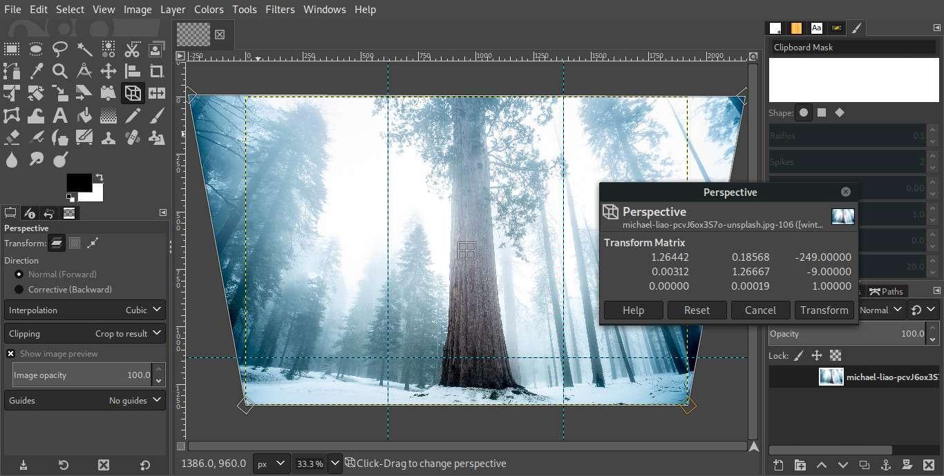 GIMP modifying image perspective