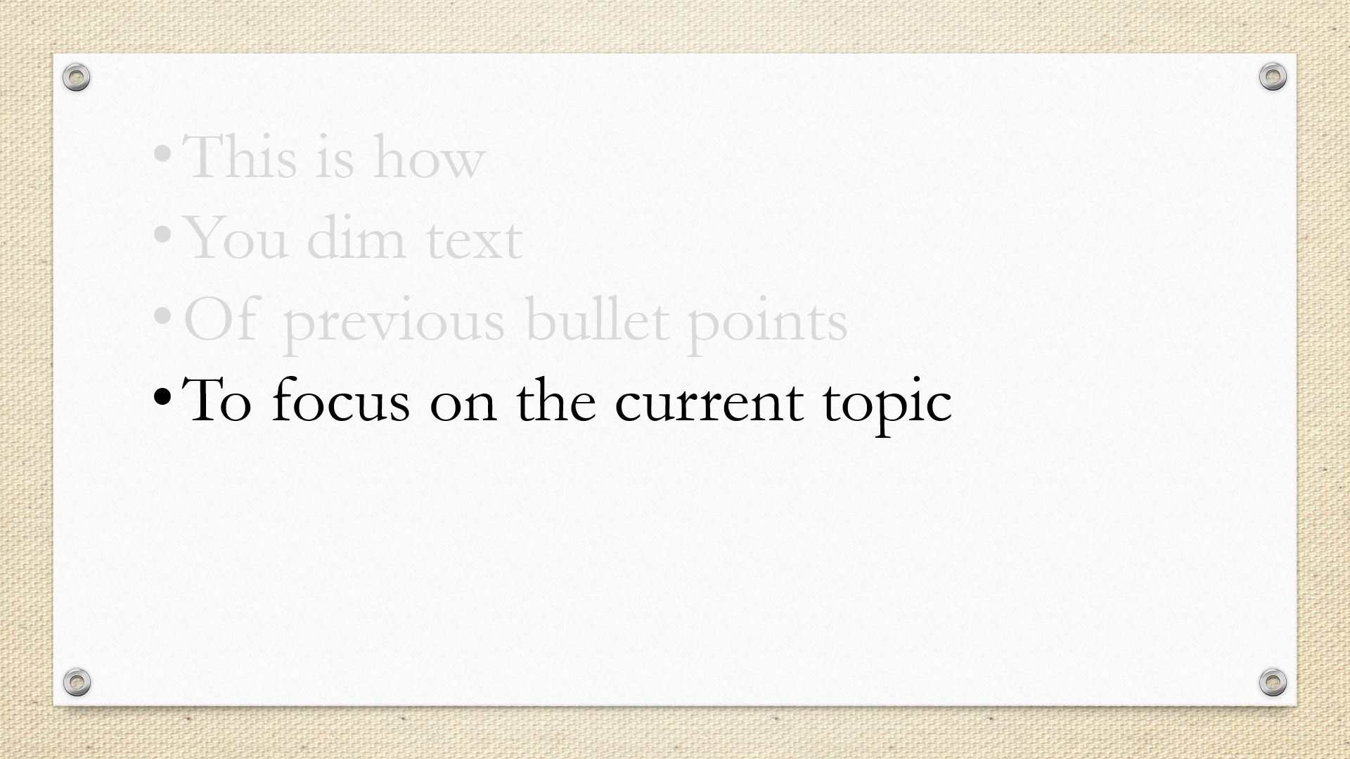 A screenshot of dimmed text in PowerPoint.