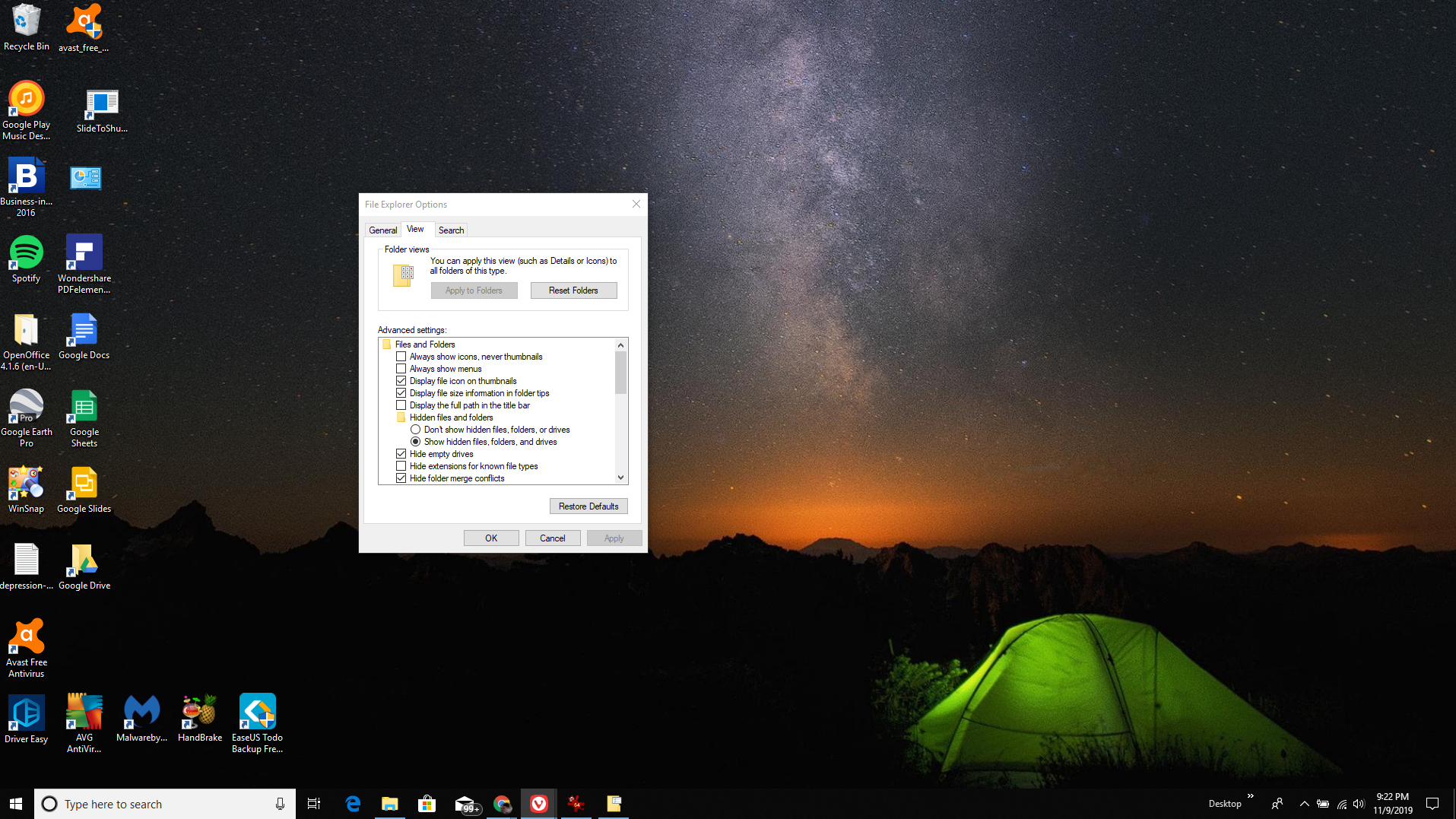 Screenshot of File Explorer Options in Windows 10