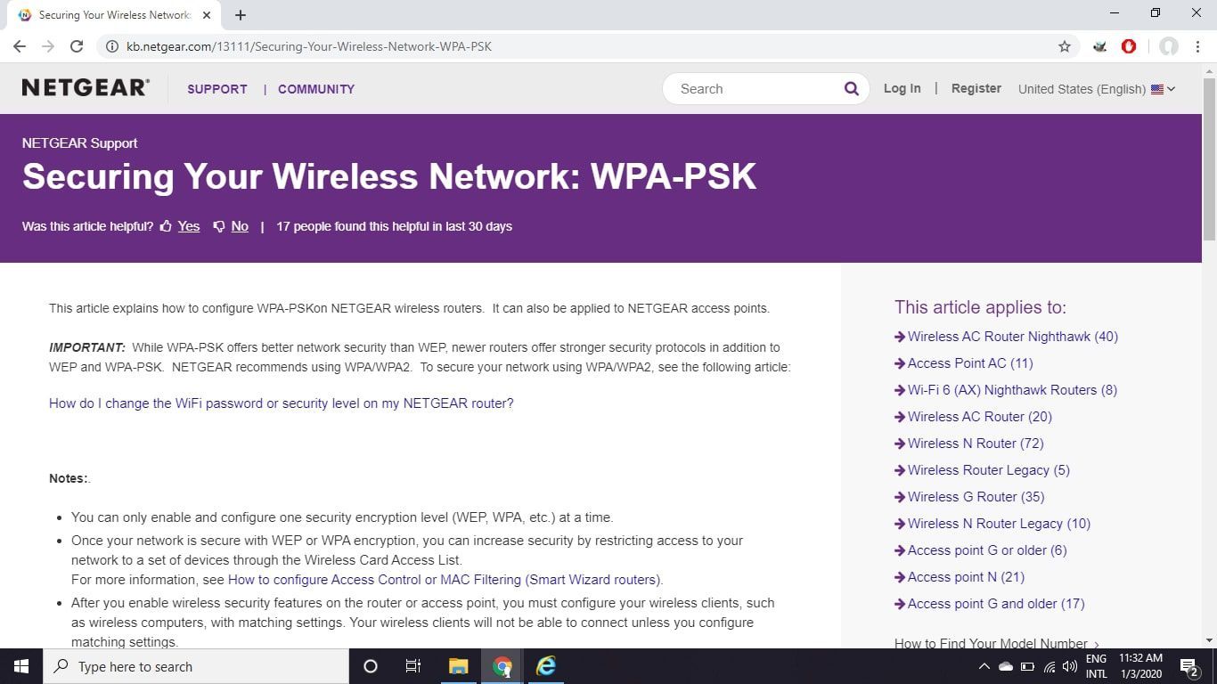 The WPA configuration page on the Netgear support website