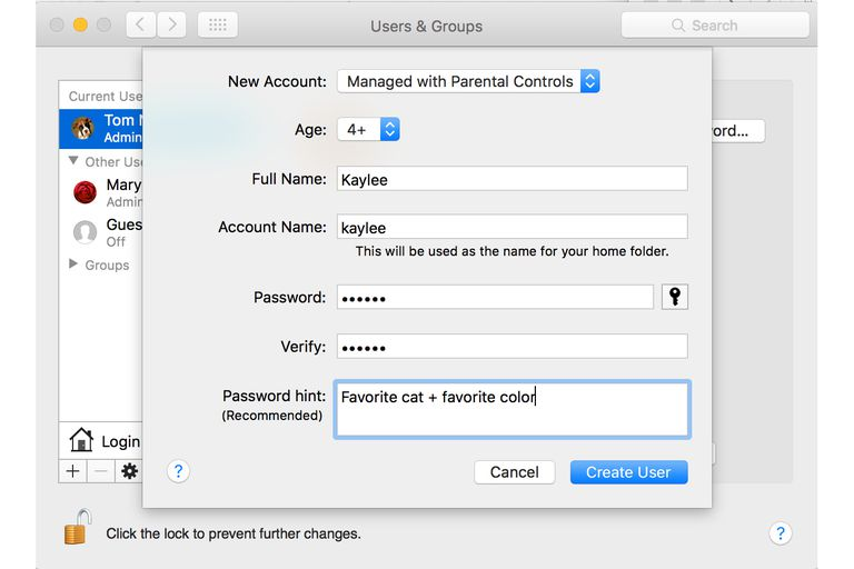 Screenshot of adding a Managed Account in OS X