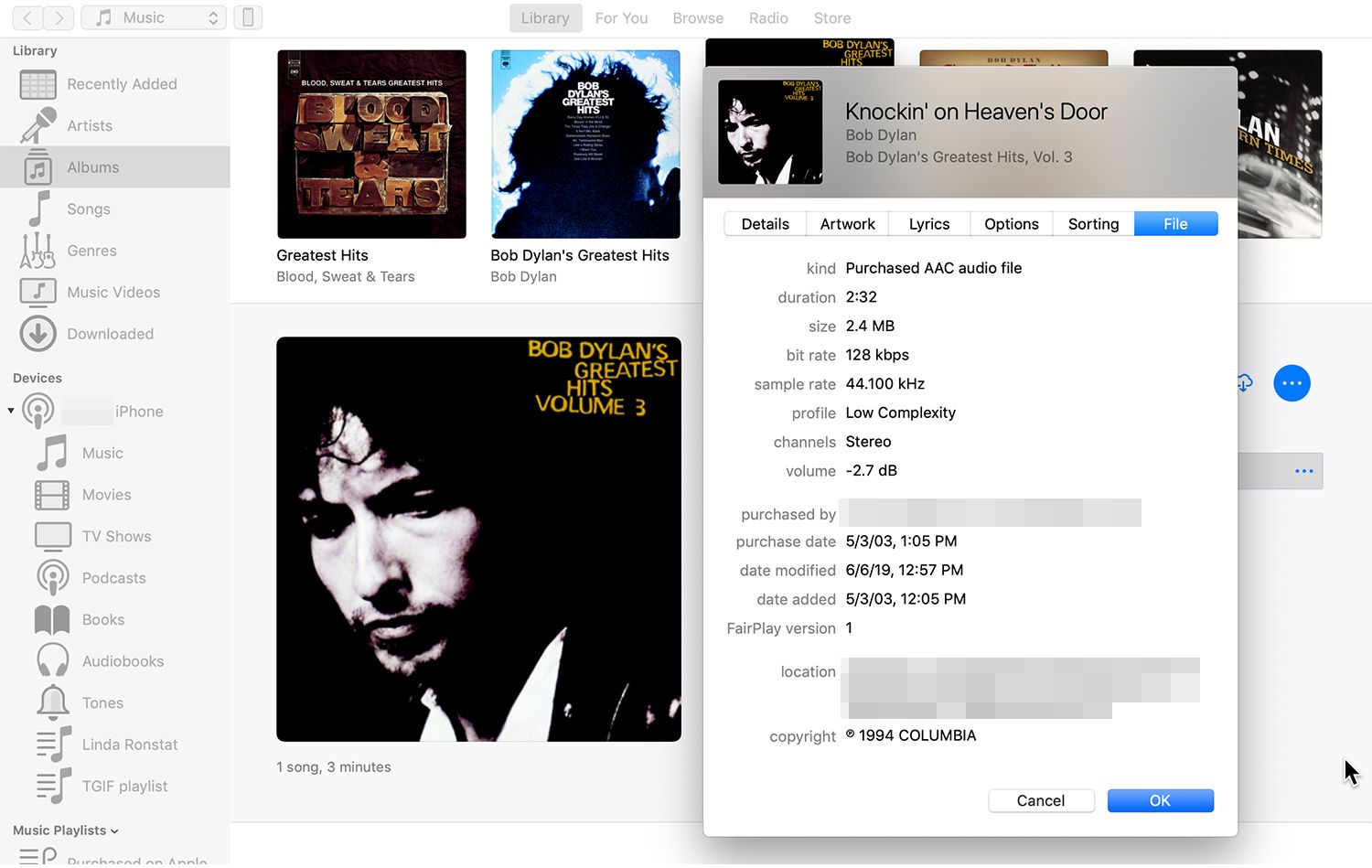 New File tab in iTunes