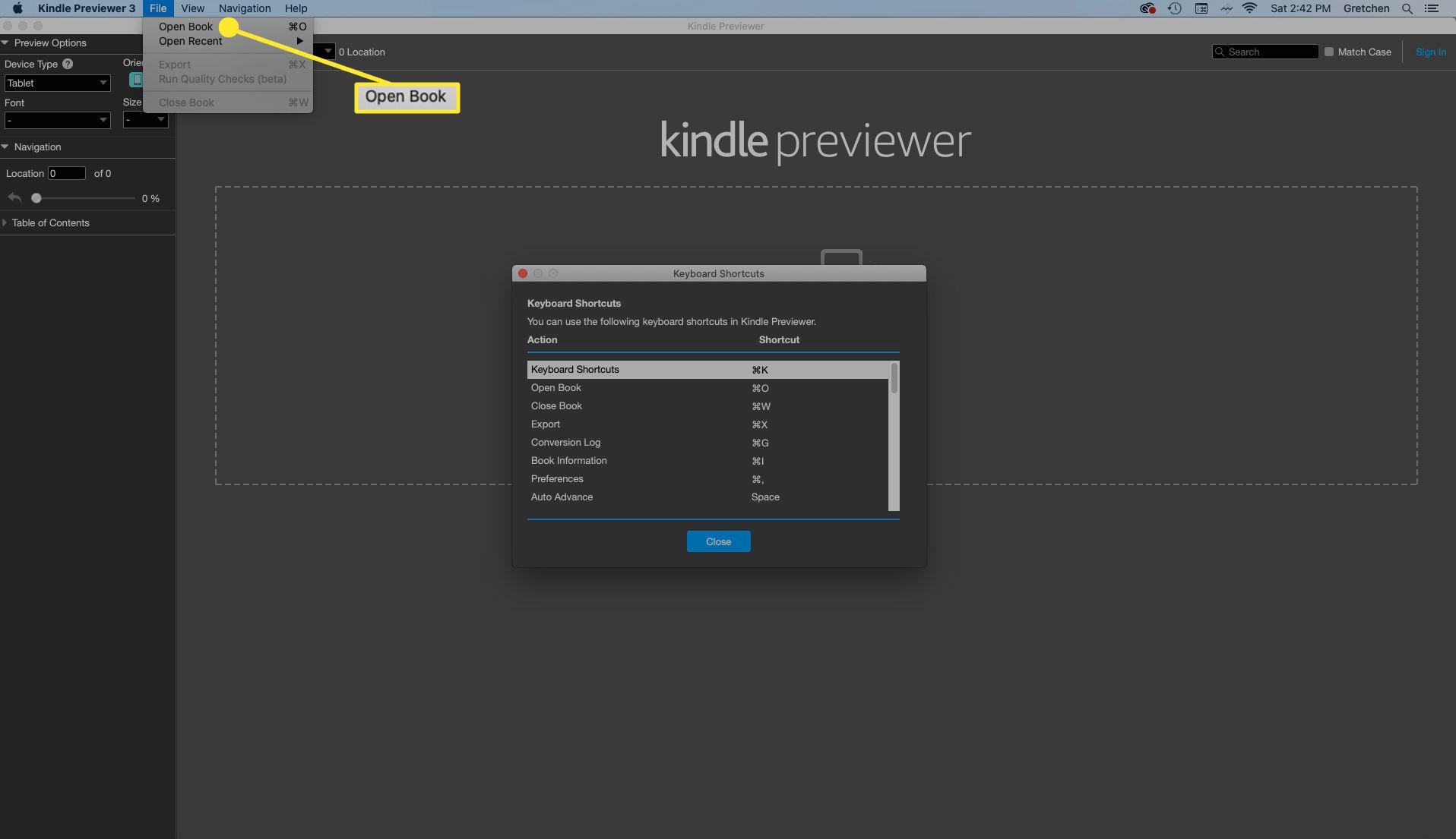 Select File > Open Book to open the Open Book dialog box.