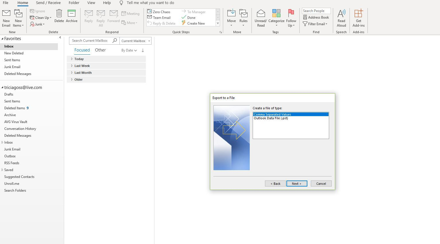 Export a file window with Comma Separated Values selected in Outlook