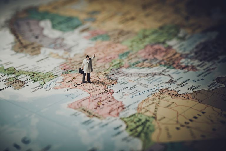 Picture of a man figurine on a map