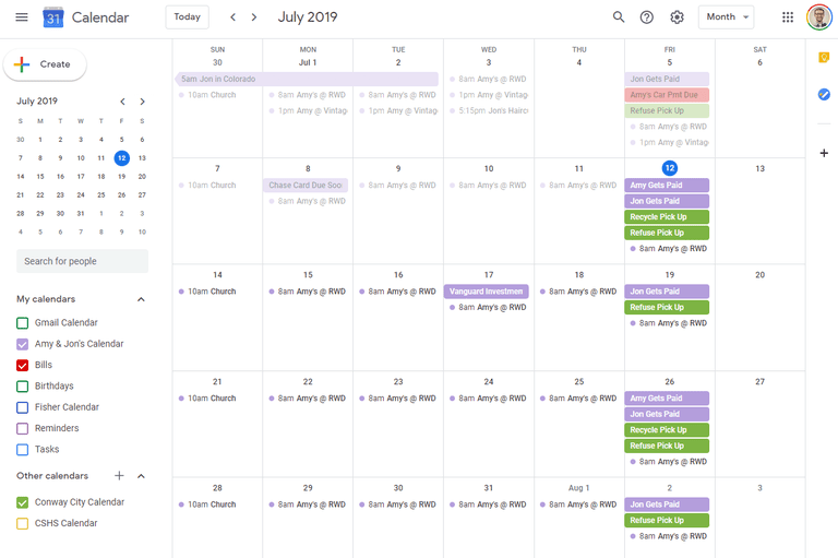 Google Calendar Month View in Chrome