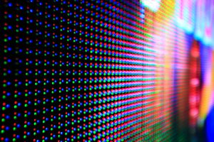 Closeup of red, green, and blue LED panel illuminated.