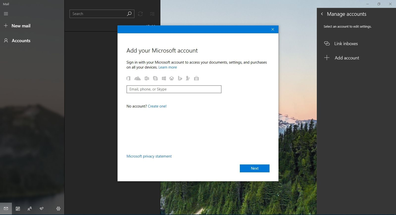 Preparing to enter an email to setup in Mail in Windows 10.