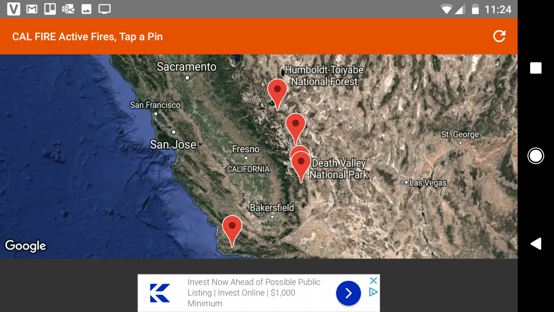 Screenshot of Wildfire Info map
