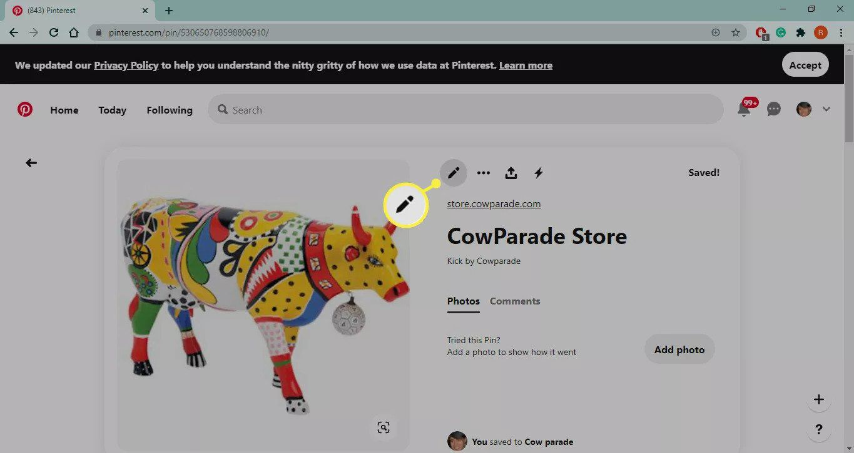 Pencil icon on Pinterest.com