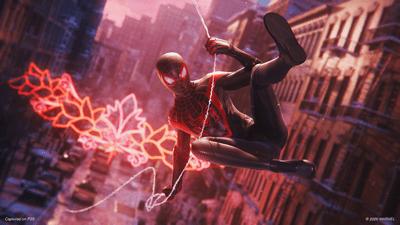 Miles Morales swinging around New York