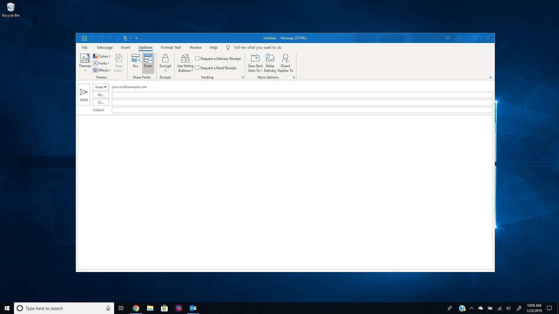 Outlook email new message on Windows 10 desktop