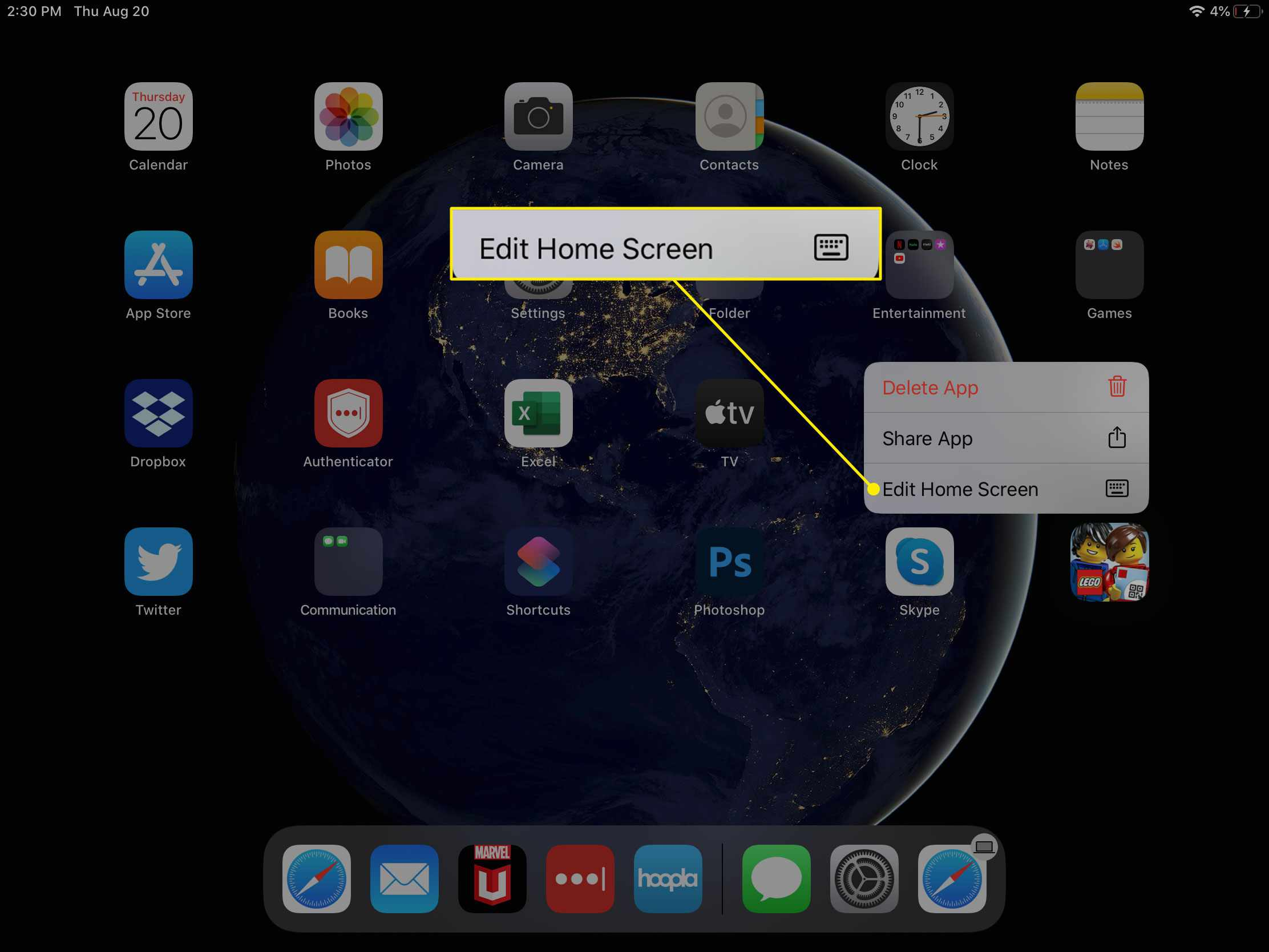 The Edit Home Screen command on an iPad
