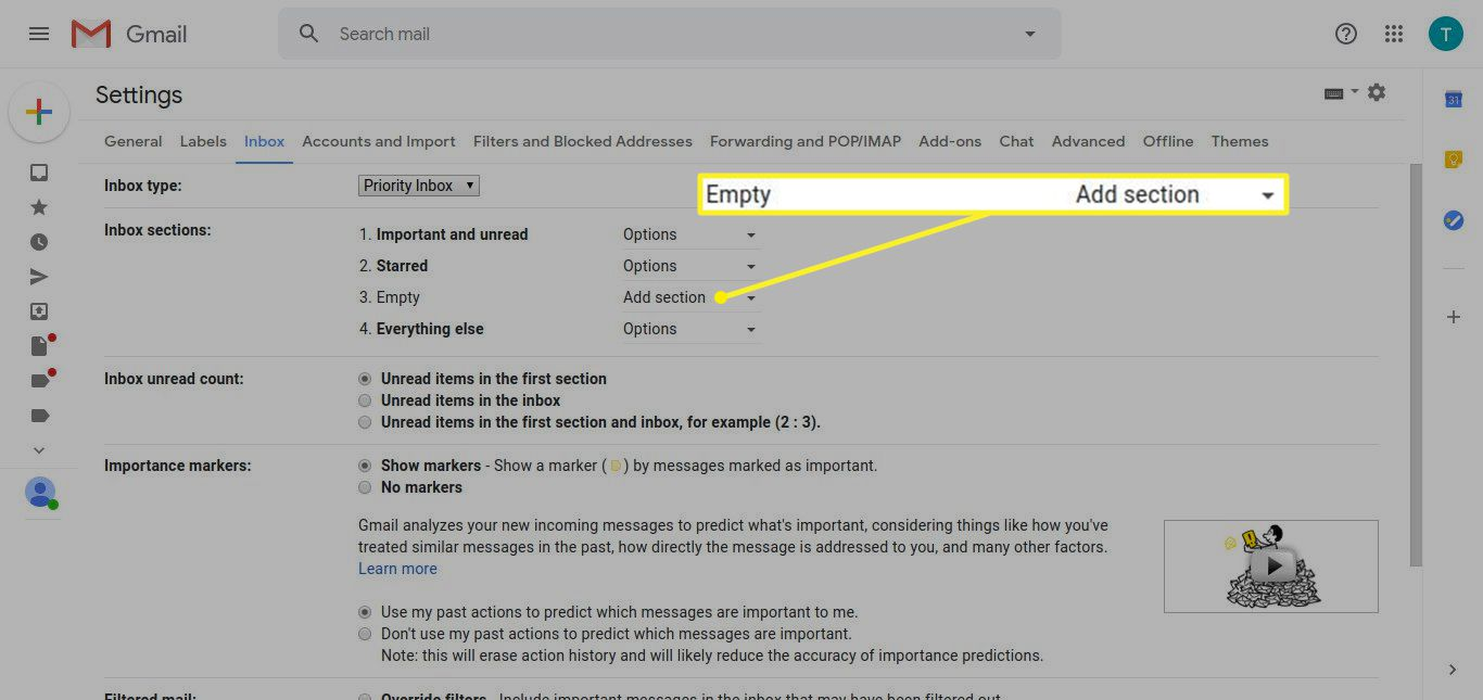 Gmail Settings showing Inbox sections