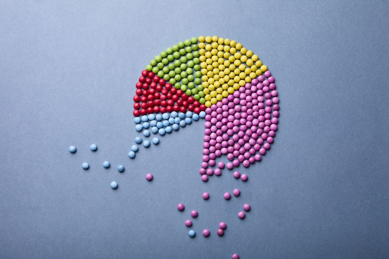 A pie chart made out of beads.
