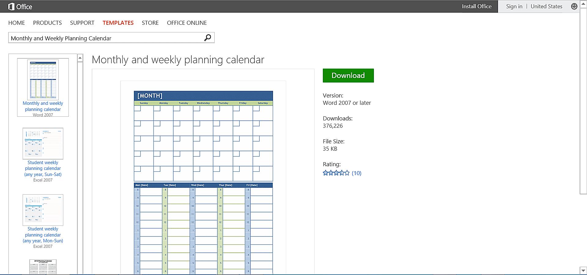 ms word weekly calendar template