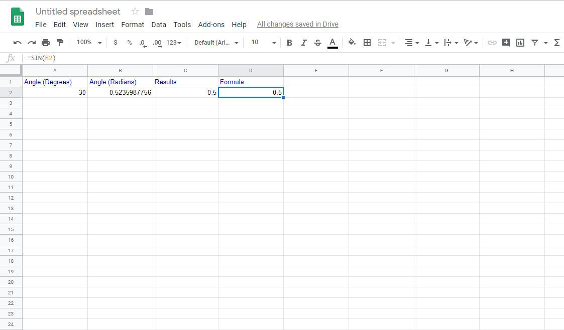 Find the Sine, Cosine, and Tangent in Google Spreadsheets