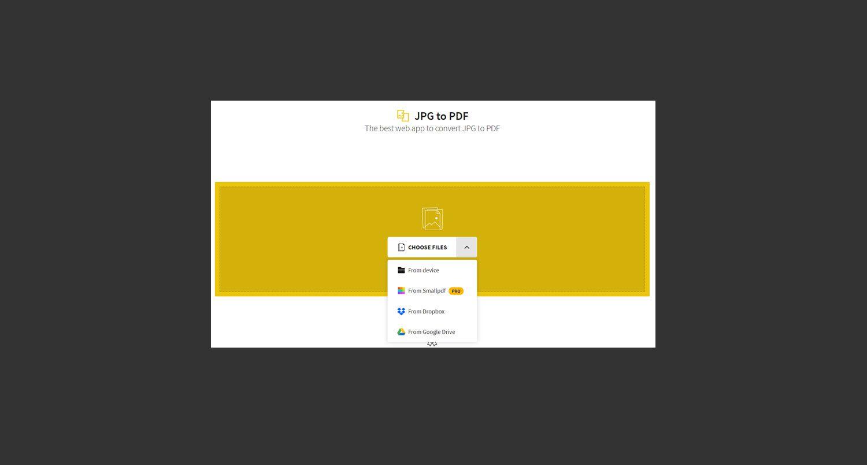 SmallPDF online JPG to PDF converter