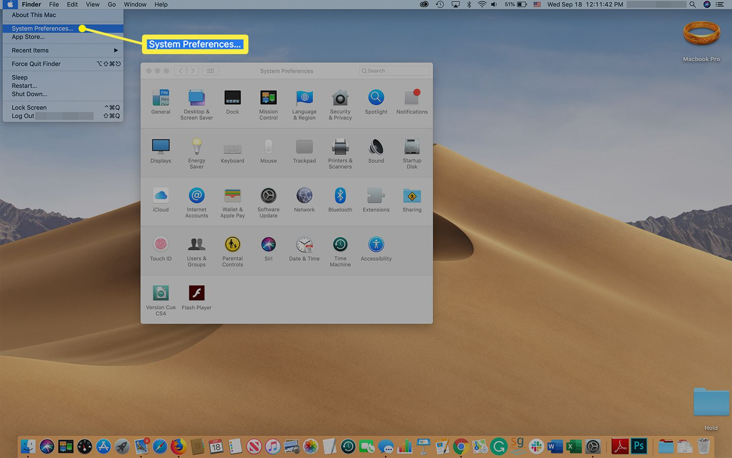Mac screen showing Apple menu and location of System Preferences option