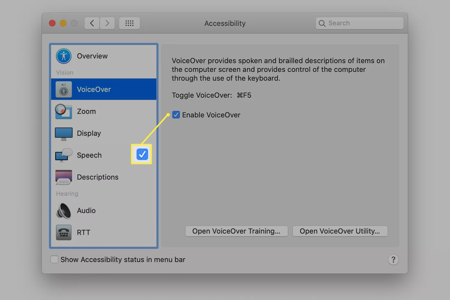 The Enable VoiceOver checkbox from macOS Accessibility settings