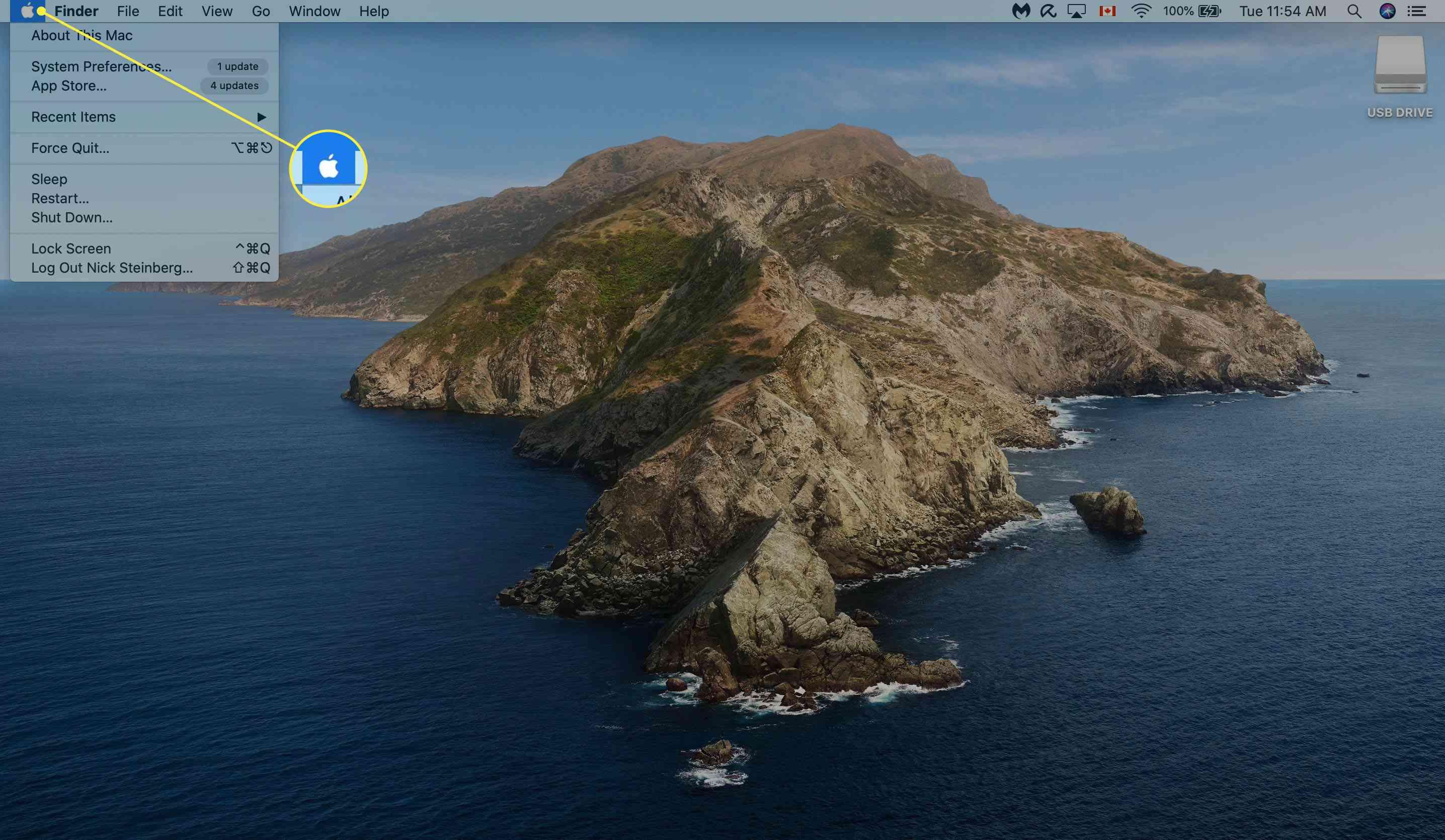 Opening Apple menu on Mac desktop.