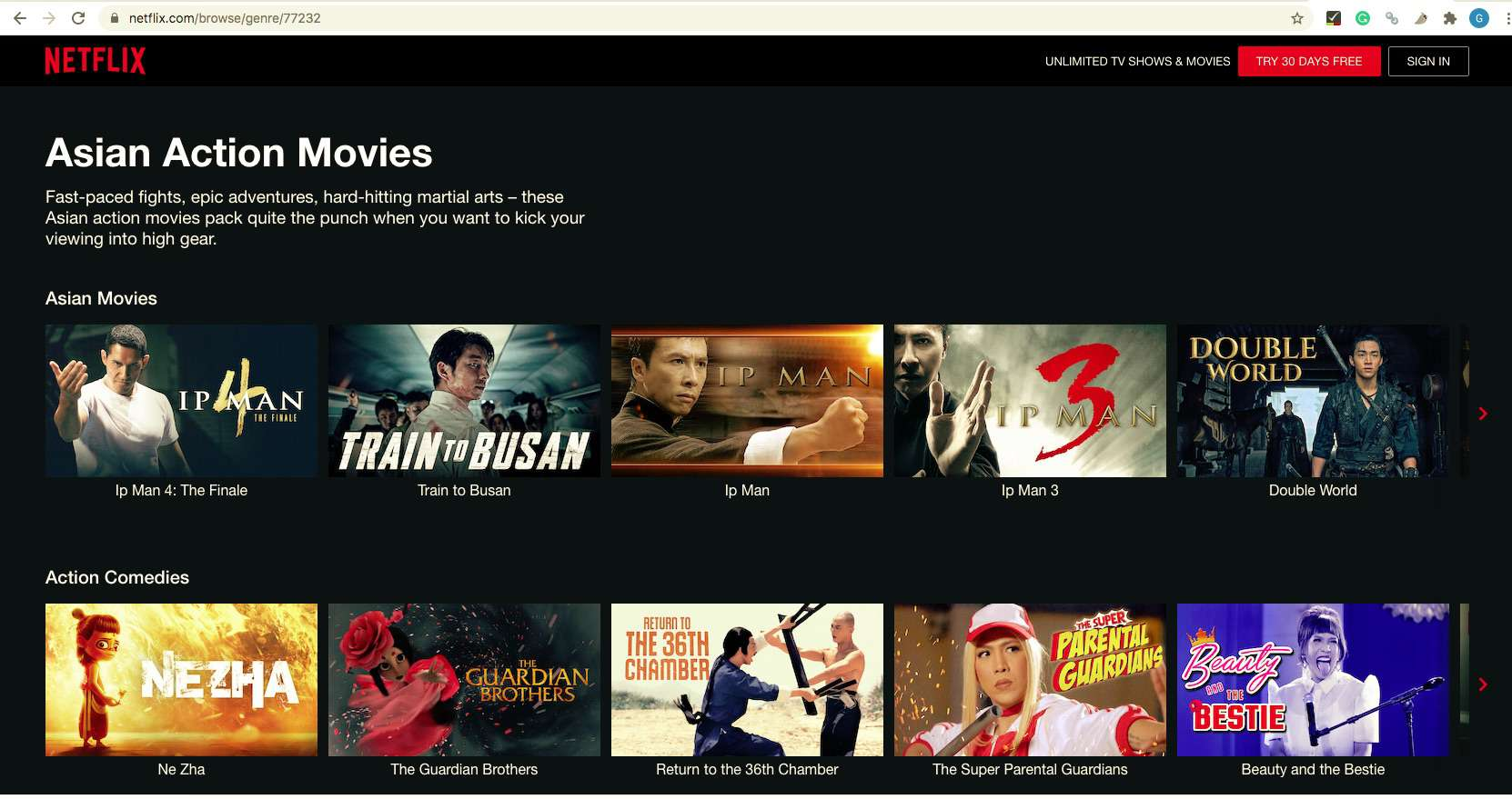 Netflix screen showing Asian Action movies after typing in 77732 secret code