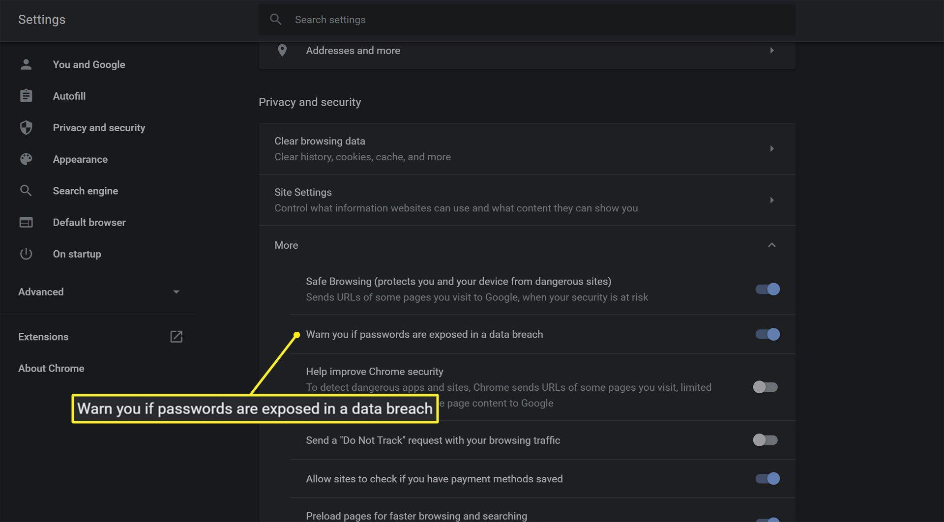 Google Password Checker settings in Google Chrome