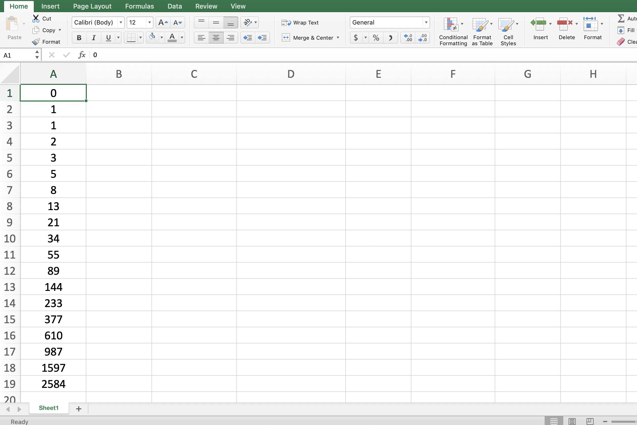 Screenshot of Excel showing a Fibonacci Sequence