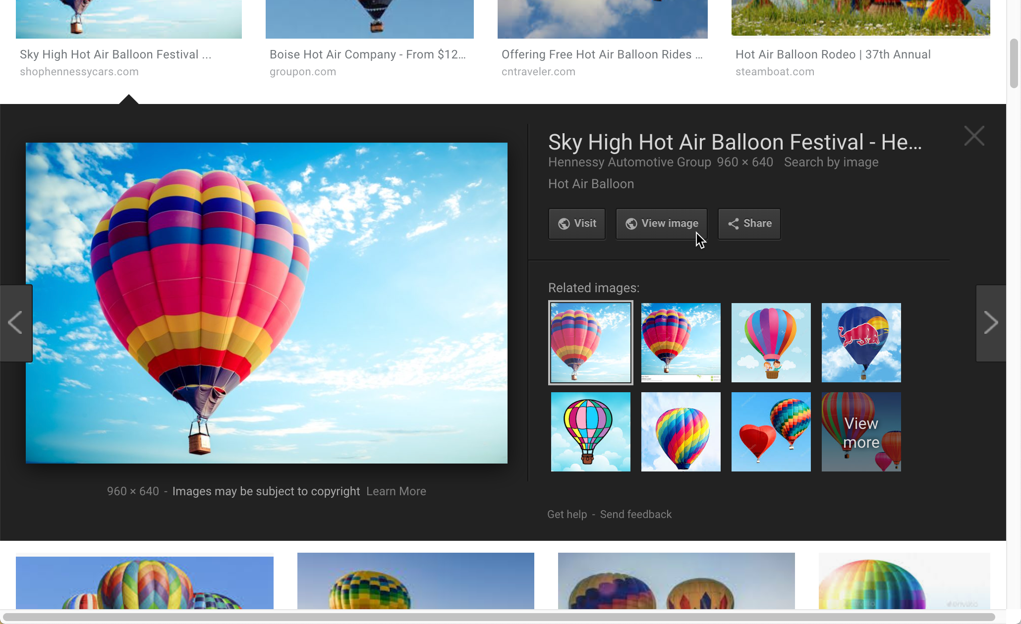 Chrome browser showing View Image extension