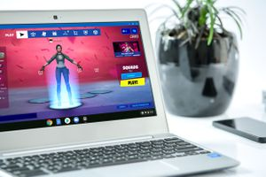 Fortnite playing on a Chromebook.