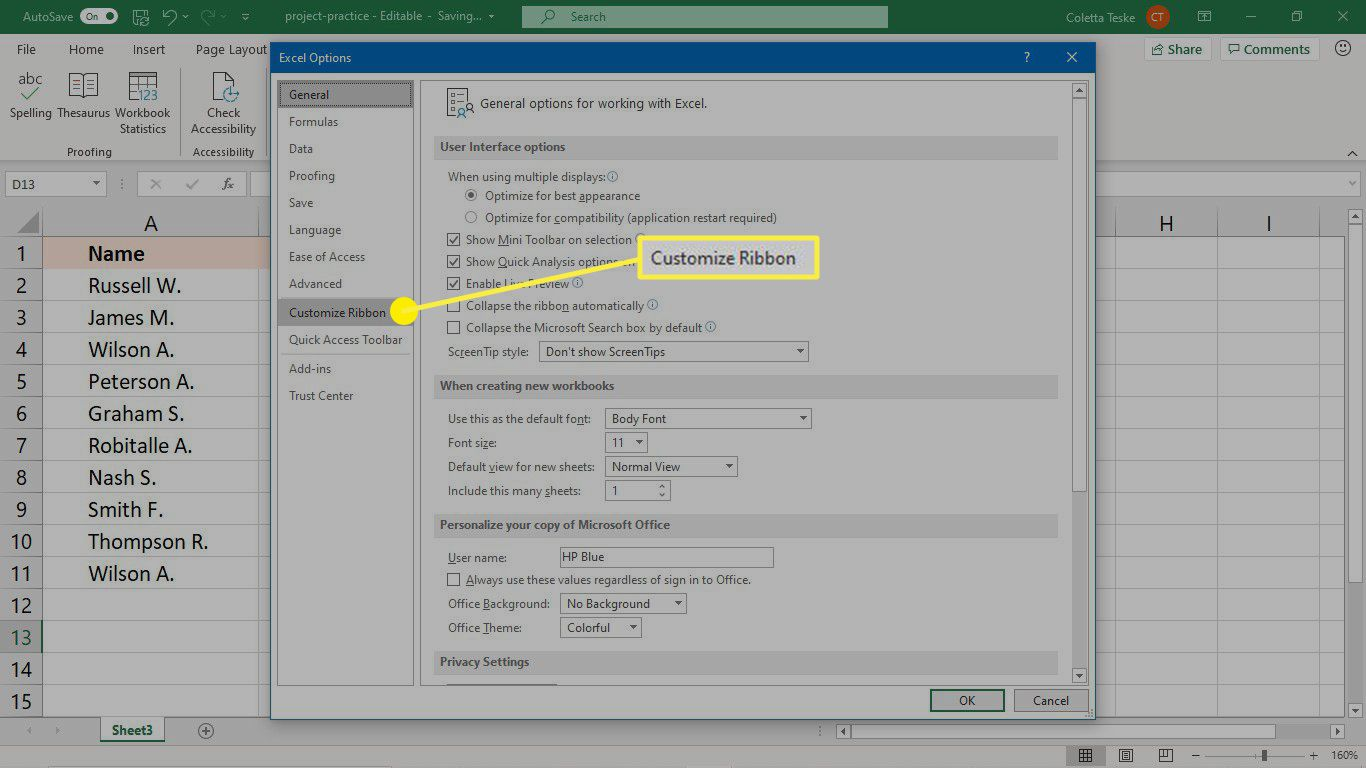 The customize ribbon option in the Excel Options dialog box.