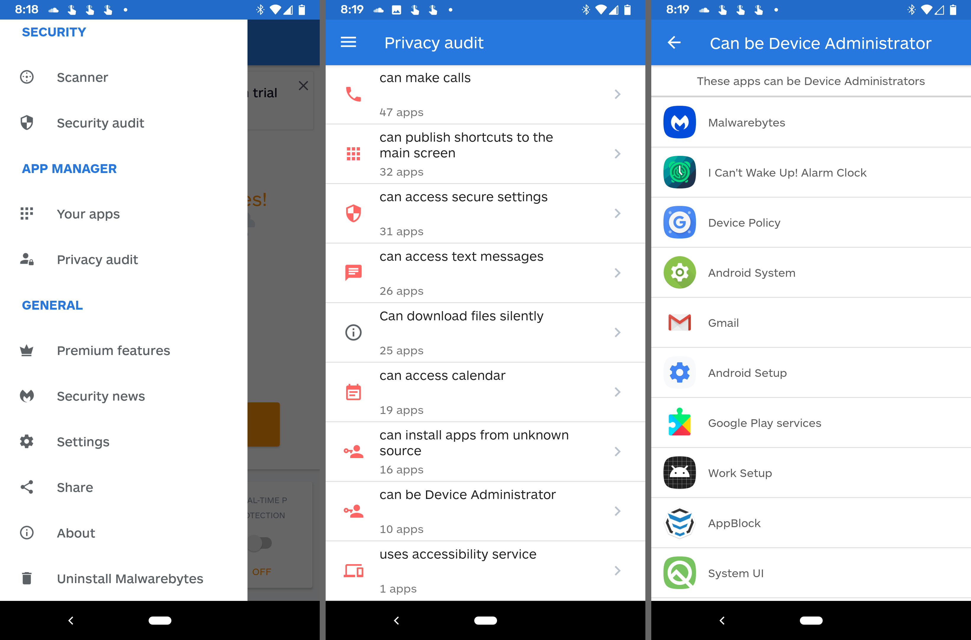 Android admin apps listed in Malwarebytes app
