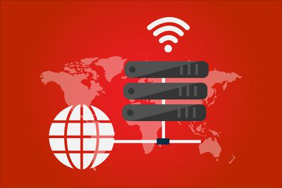 Red map of the world with 3 servers and wifi symbol above it.