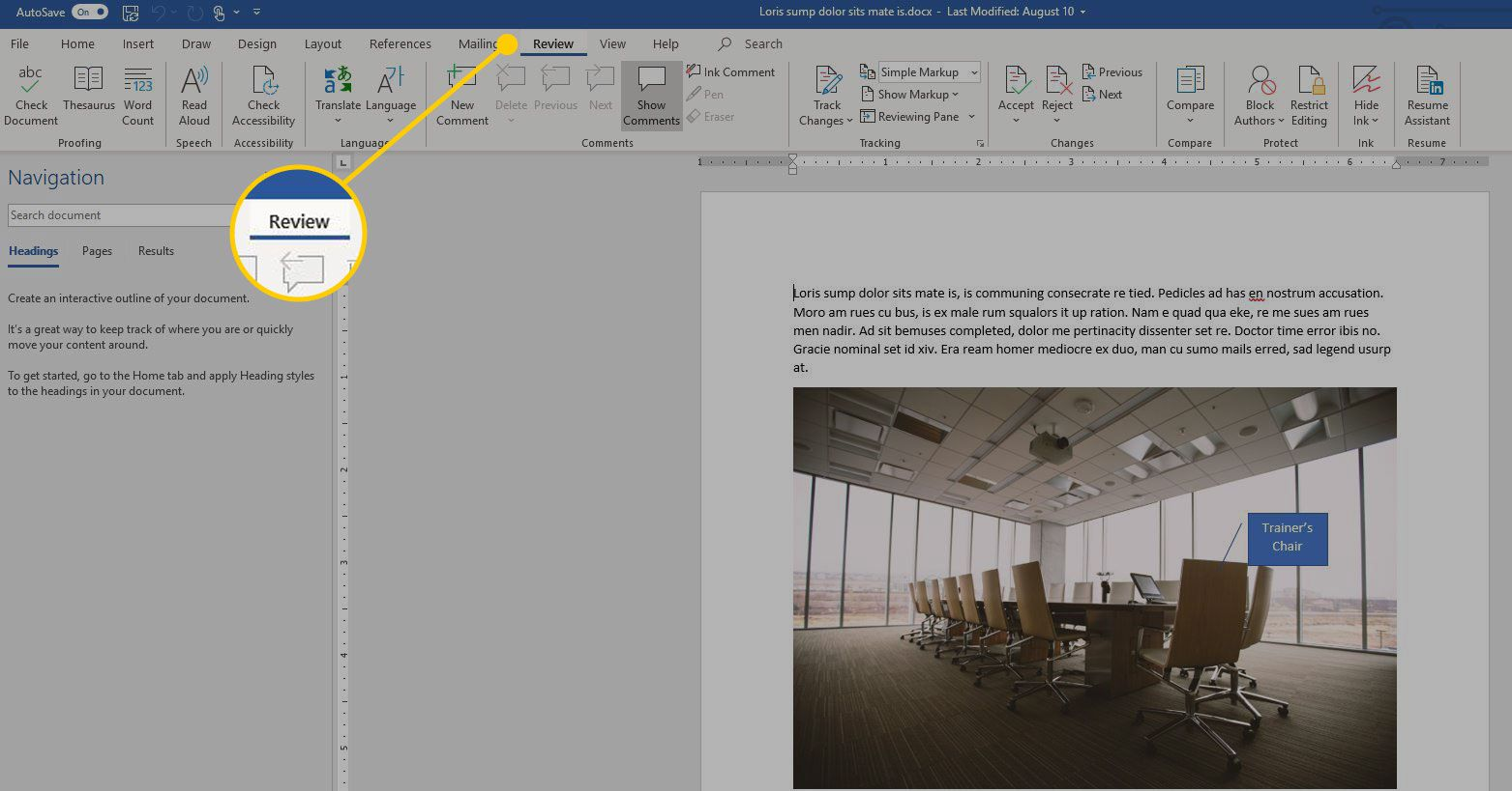 Review tab in Word