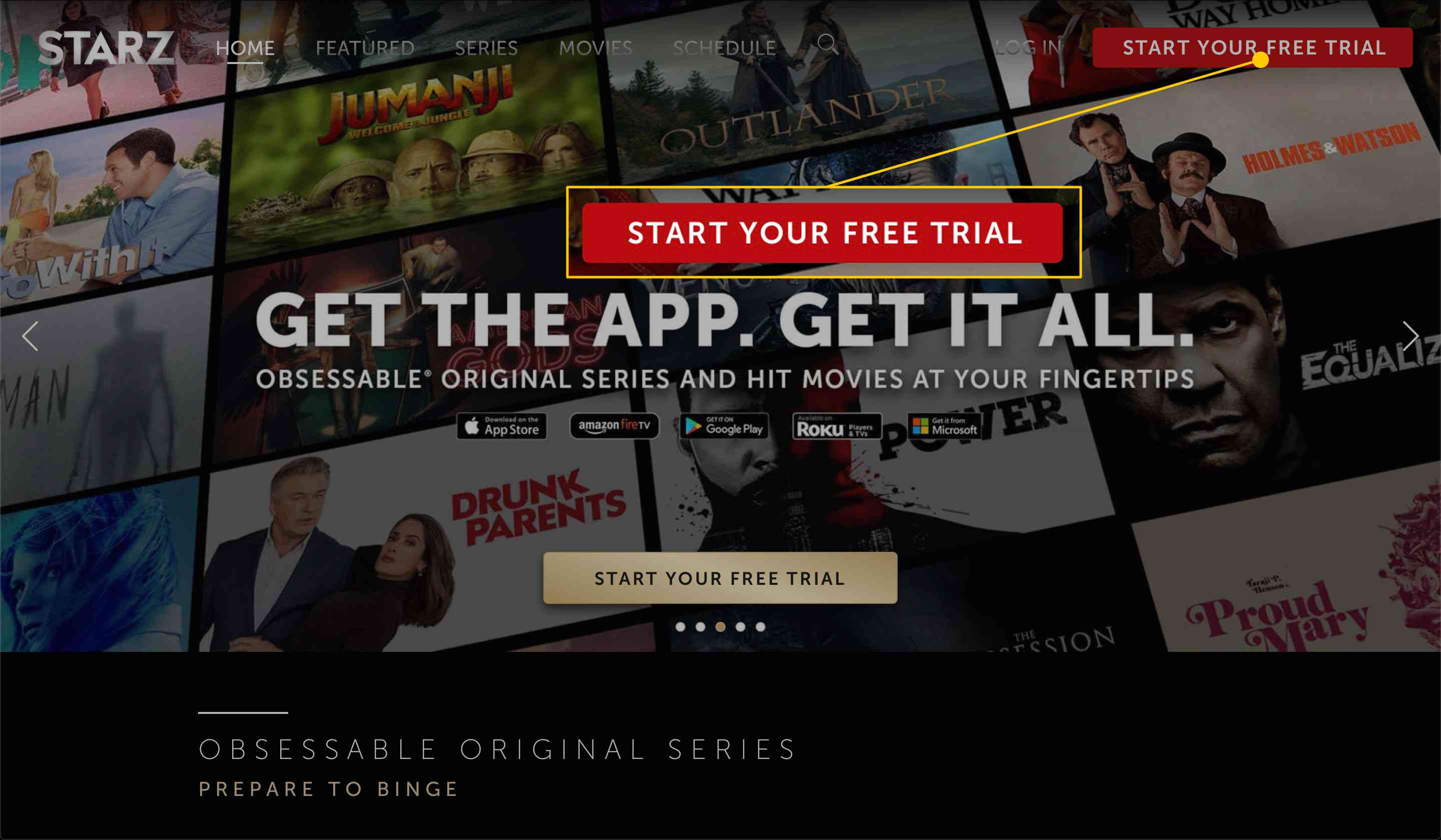 Starz home page with the Start Your Free Trial button highlighted