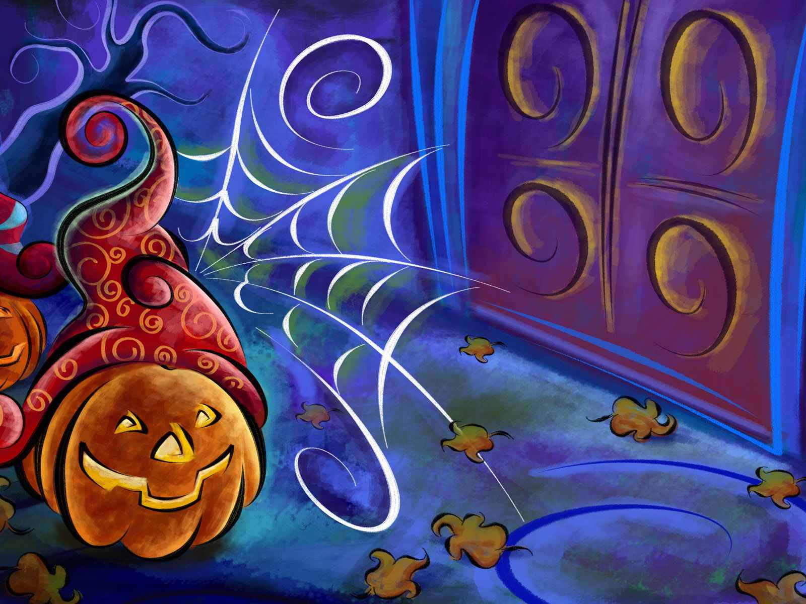 A pumpkin and a spiderweb.