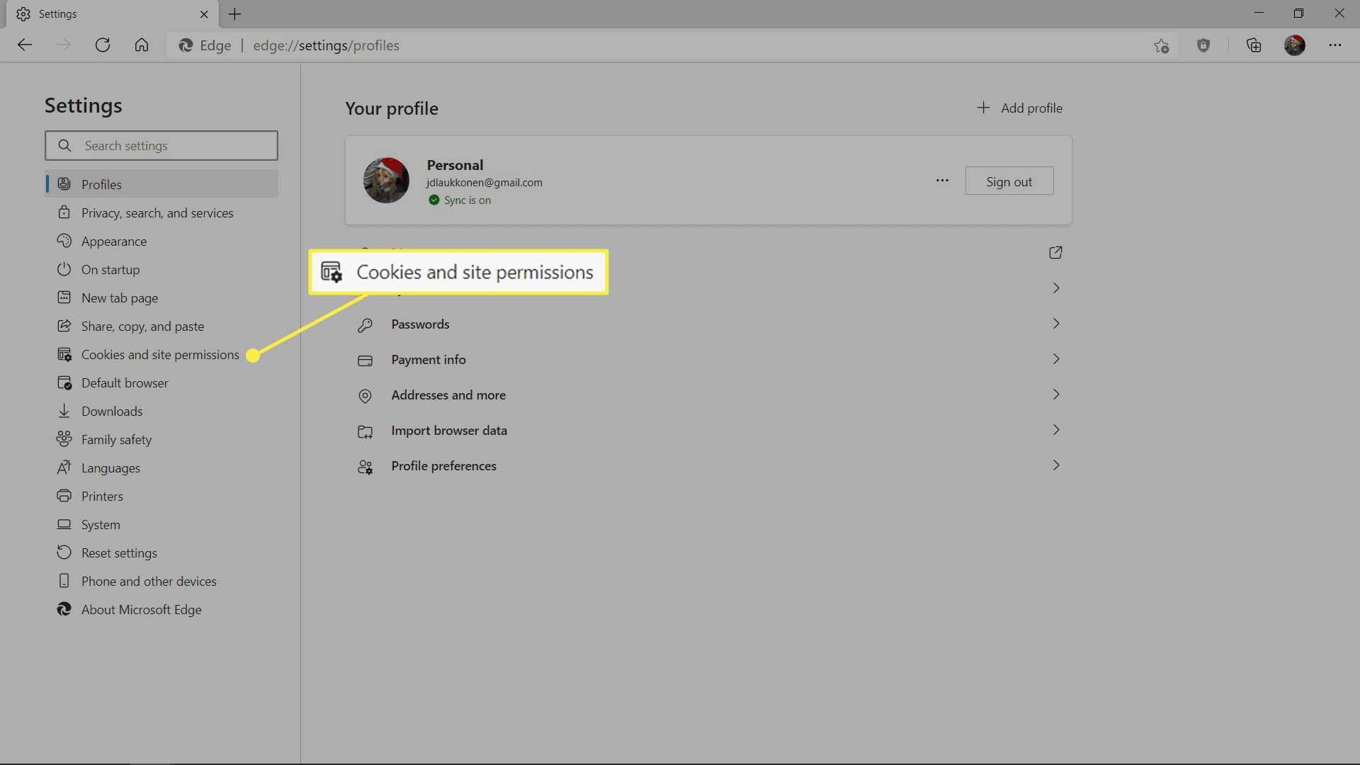The Cookies and site permissions pane of settings in MS Edge.