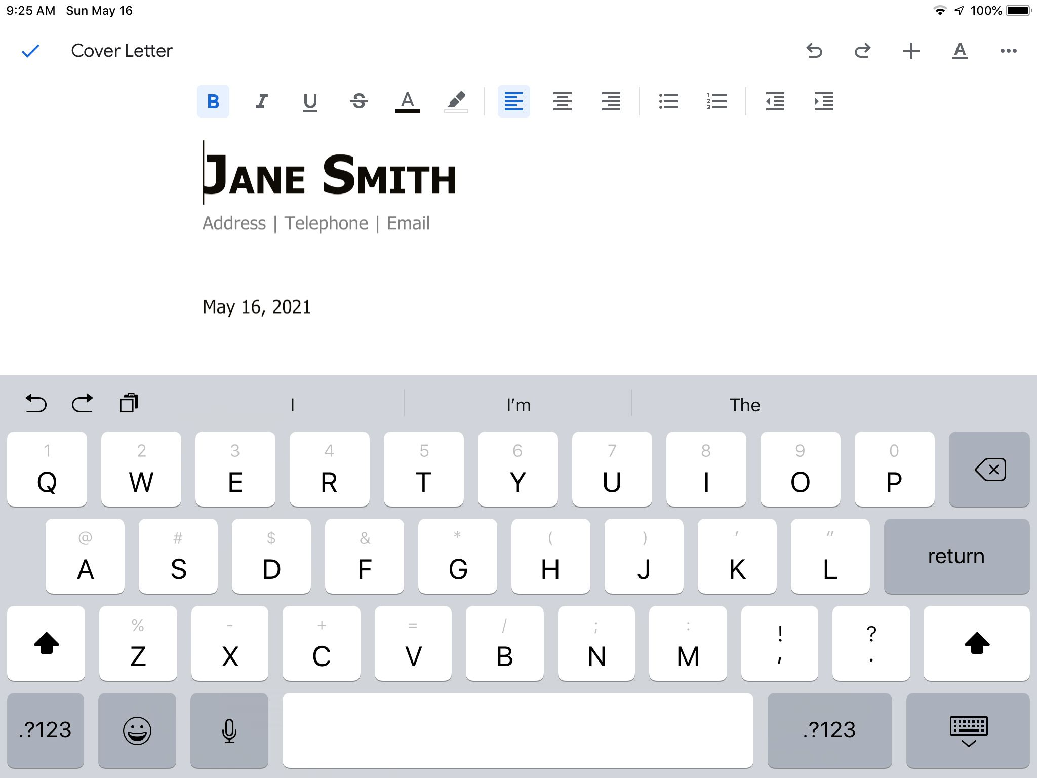 A Google Docs document showing editing mode