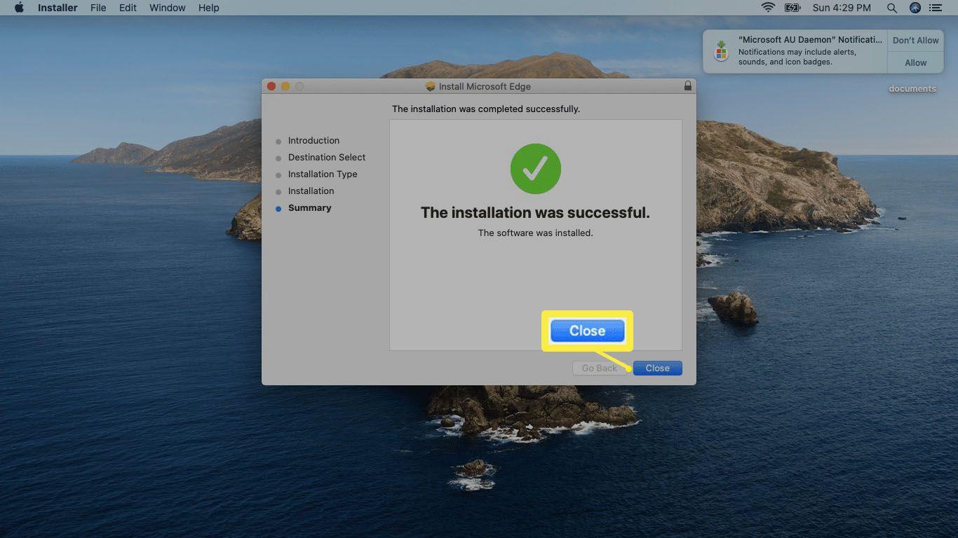 A screenshot of a successful Edge installation on Mac.