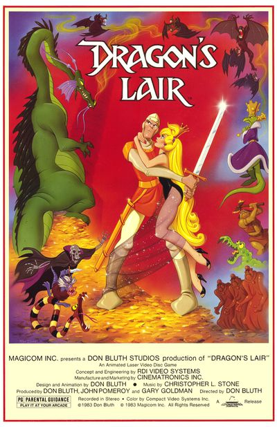 poster for the 1983 laserdisc video game 'Dragon's Lair'