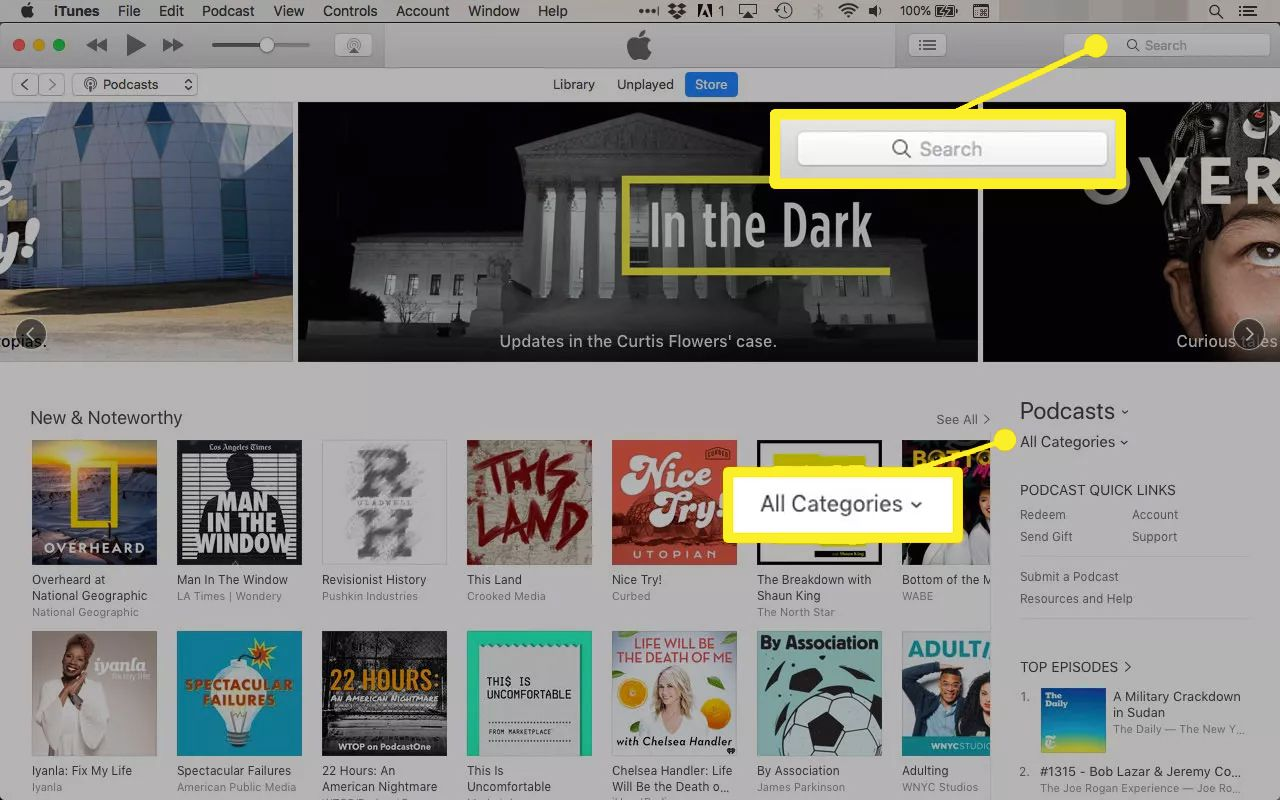 How to subscribe to podcasts in iTunes screenshot