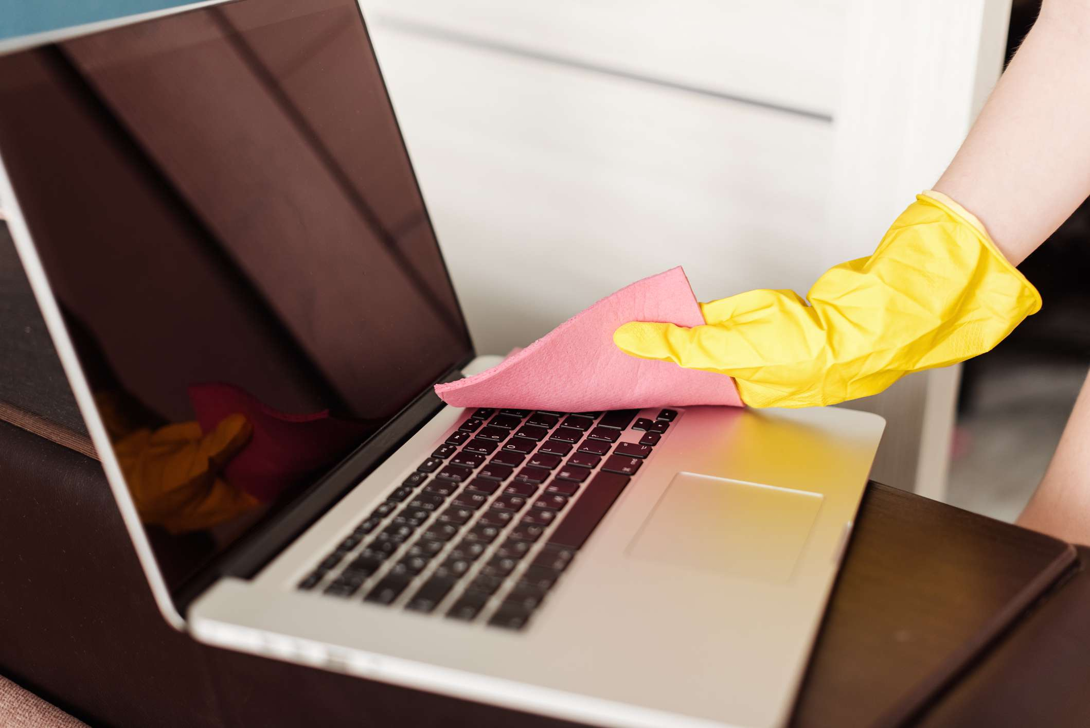 Cleaning the surface of a MacBook
