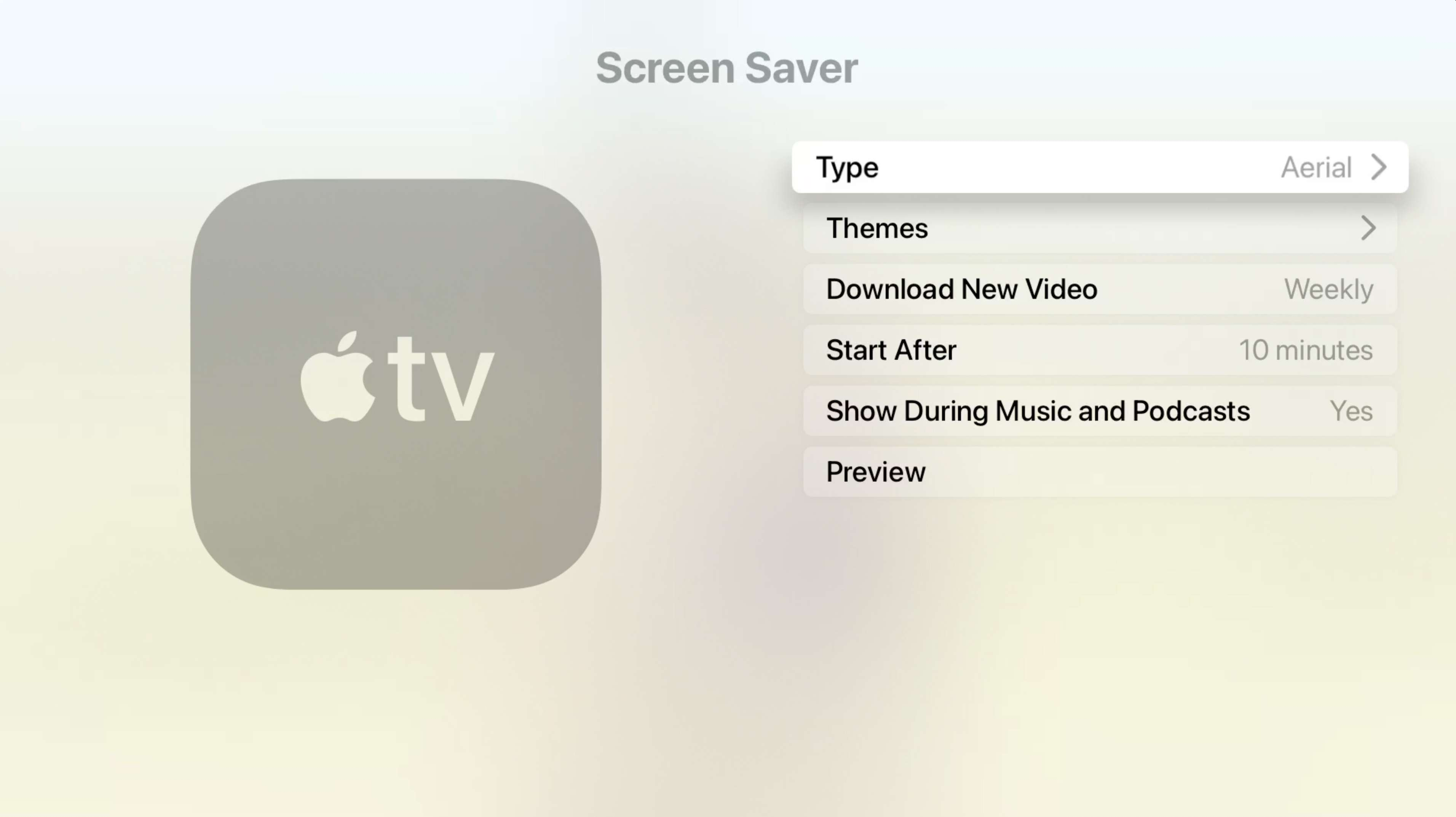 Apple TV Screen Savor Type preferences