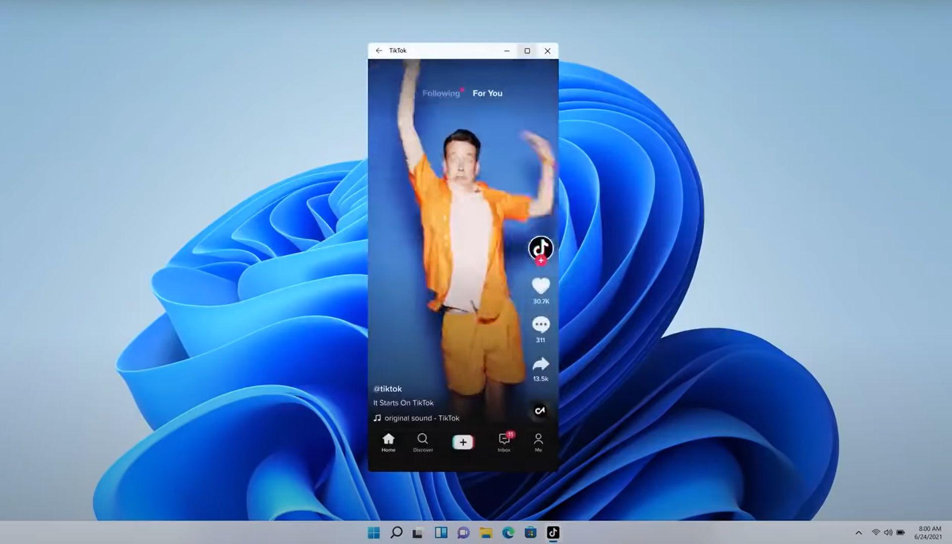 Android TikTok app running on Windows 11 desktop.